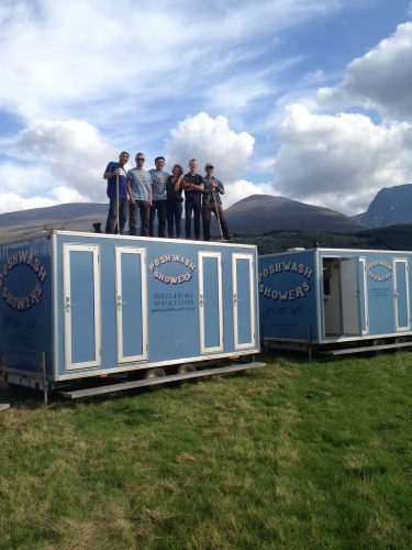 Posh Wash Showers crew at Ben Nevis